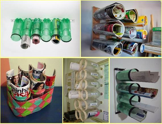 Reusing-plastic-bottles-magazine-organizer